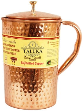 Taluka ( 4 x 9 ) Pure Hand Made Best Quality Hammered Copper Jug For Water Drinking 100% Pure Copper Jug Pitcher Capacity 2500 ml Water Storage Serving Drinking Water
