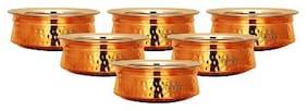 "Taluka (5.1 x 1.8 "" approx) Handmade Copper Serving Handi / Pot Bowl Steel Inside 300 ml Restaurant Ware Hotel Ware Home Ware Pcak Of 6"