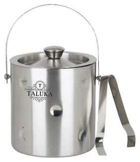 Taluka ( 13.05 cm (5.14 Inch) x 19.81 cm (7.8 Inch) approx) Stainless Steel Ice Bucket Champagne bucket Capacity:- 1500 ml Free Tong Bar Ware Restaurant Home Gift Purpose