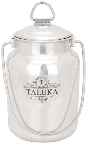 Taluka (13.20 cm (5.2 inch) x 20.57 cm (8.10 inch) approx) Stainless Steel Milk Can Capacity 2.5 Liters Weight :- 570 Grams