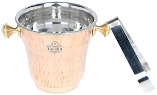 "Taluka (5.5 x 5.5"" approx) Stainless Steel Ice Bucket Champagne bucket Capacity:- 1500 ml Free Tong Bar Ware Restaurant Home Gift Purpose"