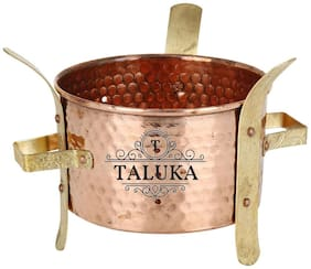 Taluka (12.7 cm (5 inch) x 12.7 cm (5 inch) approx) Hanmade Brass Stand Copper Sigadi /Sigri Warm Angeethi Copper Hearth For Restaurant Ware Hotel Ware Home Ware Suitable for Picnic
