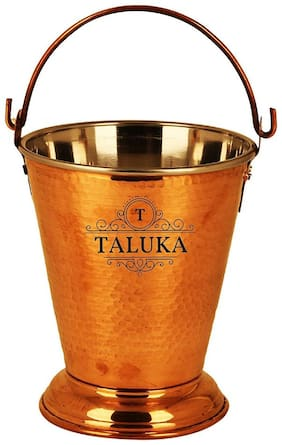 Taluka (5 x 6 inch approx) Pure Copper Handmade Steel Copper Serving Bucket Capacity :- 400 ml | Vegetable Dish serving Restaurant Ware Hotel Ware Home Gift Item
