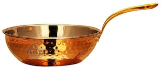 Taluka (6 x 2 ) Stainless Steel Copper Fry Pan Tadka Pan Capacity :- 450 ml Cooking Dishes Home Hotel Restaurant Tableware Kitchen & Dining Medium Size Fry Pan