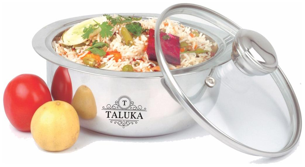 Taluka  7.2 X 3.0  IN  Stainless Steel Insulated Chapati Casserole With Glass Lid Serving Casserole Box Tableware Small by Taluka Exports