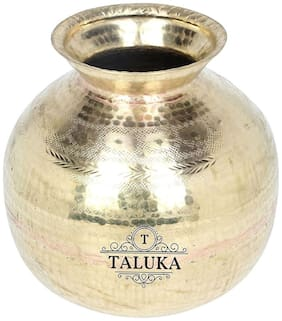 Taluka (23.11 cm (9.1 inch) x 24.13 cm (9.5 inch) approx) Handmade Brass Matka Water Pot Tank Pitcher Pot 5000 ML for Water Drinking and Storing Purposes Healthy Habits Ayurvedic benefits