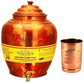 Taluka Apple Design Pure Copper Water Pot Dispenser Matka Water Tank Water Storage Capacity :- 16 L Weight :- 1600 g Set With 1 Copper Glass 300 ml
