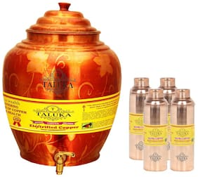 Taluka Apple Design Pure Copper Water Pot Dispenser Matka Water Tank Water Storage Capacity :- 16 L Weight :- 1600 g With Set of 4 Bisleri Design Bottle 800 ml EACH Bottle
