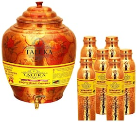 Taluka Apple Design Pure Copper Water Pot Dispenser Matka Water Tank Water Storage Capacity :- 16 L Weight :- 1600 g Set With 6 Hammer Joint Free Leak Proof Copper Water Bottle 1000 ml