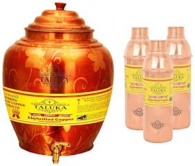 Taluka Apple Design Pure Copper Water Pot Dispenser Matka Water Tank Water Storage Capacity :- 16 L Weight :- 1600 g With Handmade Set 3 Copper Bottle 800 ml Each