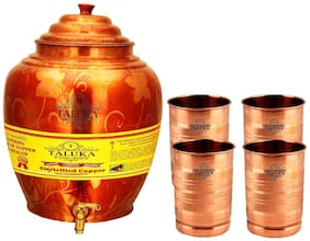 Taluka Apple Design Pure Copper Water Pot Dispenser Matka Water Tank Water Storage Capacity :- 16 L Weight :- 1600 g Set With 4 Copper Glass 300 ml Each