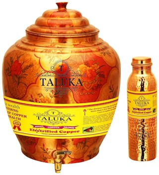 Taluka Apple Design Pure Copper Water Pot Dispenser Matka Water Tank Water Storage Capacity :- 16 L Weight :- 1600 g Set With Hammer Joint Free Leak Proof Copper Water Bottle 1000 ml