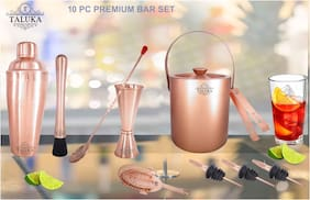 Taluka Copper Plated Wine and Cocktail Bar Set- Premium Bar Tool Set 10 Pc For Restaurant Hotel Home Bar