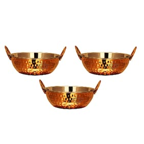 Taluka Copper Stainless Steel Serving Kadai Kadhai 400 ml Bowl Wok Serving Dishes Restaurant Hotel Home Pack Of 3