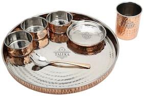 Taluka Copper Traditional Kitchen Thali;8 pcs Dinner Ware Dinner Set Bhojan Thali Set