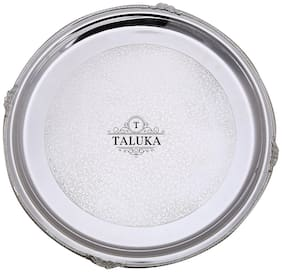 Taluka (Dia :- 14.5  Weight :- 850 Grams) Pure Brass Nickel Plated Tray Serving Tray / Plate / Charger Round shape Elegant Royal Look Best Quality