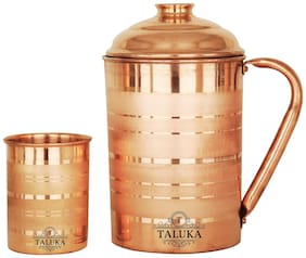 Taluka Handmade Silver Touch Pure Copper Jug Pitcher Capacity 1700 ml with 1 Copper Glass Cup Water Storage Serving Drinking Water   Home Hotel Restaurant Tableware Drinkware