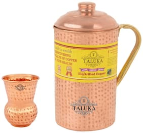 Taluka Handmade Pure Copper Hammered Jug with Brass Handle 2000 ml Set with 1 Glass 300 ml -Serving Storage water Good Health Benefit Yoga Ayurveda