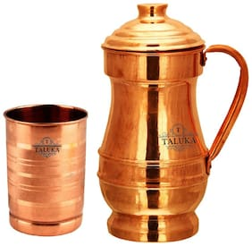 Taluka Handmade Pure Copper Jug Pitcher Capacity 1500 ml with Copper Glass Cup 300 ml Water Storage Serving Drinking Water   Home Hotel Restaurant Tableware Drinkware Royal Jug