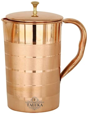 Taluka Handmade Pure Copper Jug Pitcher Capacity 1600 ml Drinkware Water Storage Serveware Set Ayurveda Good Health Benefits