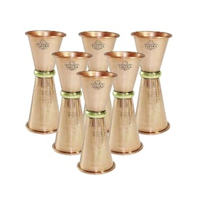 Taluka Handmade Copper Double Side Peg Measure & Cocktail Shaker Drink Measuring Bar Tool 30/60Ml Pack Of 6