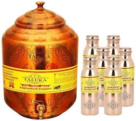 Taluka Pure Copper Handmade Water Pot Tank Matka Dispenser | 17000 ml Capacity | with Set 6 Copper Bottle Water Bottle Joint free - Leak Proof Bottle 1000 ml Each | For Kitchen Good Health Benefit