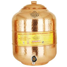 Taluka Pure Copper Water Pot Storage Tank Matka Dispeser 16 Liters Capacity 16000 ML For Kitchen & Health Benefits Yoga Ayurveda