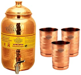 Taluka Pure Copper Handmade Water Pot Tank Matka Dispenser | 2000 ml Capacity | with 3 Copper Glass 300 ml Each | For Kitchen Good Health Benefit