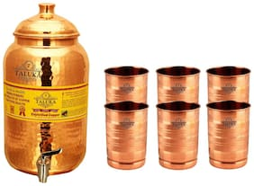 Taluka Pure Copper Handmade Water Pot Tank Matka Dispenser   2000 ml Capacity   with 6 Copper Glass 300 ml Each   For Kitchen Good Health Benefit