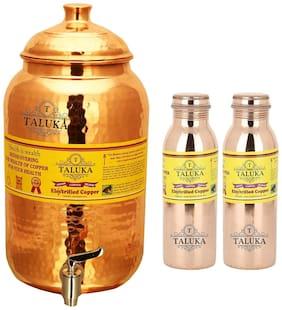 Taluka Pure Copper Handmade Water Pot Tank Matka Dispenser | 2000 ml Capacity | with Set 2 Copper Bottle Water Bottle Joint free - Leak Proof Bottle 1000 ml Each | For Kitchen Good Health Benefit