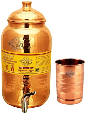 Taluka Pure Copper Handmade Water Pot Tank Matka Dispenser | 2000 ml Capacity | with 1 Copper Glass 300 ml| For Kitchen Good Health Benefit