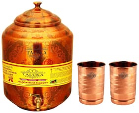 Taluka Pure Copper Water Pot Dispenser Matka Water Tank Water Storage Capacity :- 17 L Weight :- 1600 g with Set 2 Copper Glass 300 ml Each