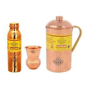 Taluka Set Of 3 Copper Hammered Leak Proof Joint Free Water Bottle 1000 ml;Jug with Brass Handle 2000 ml with 1 Round Bottom Glass 300 ml- Storage water Good Health