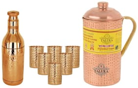 Taluka Set Of 8 Copper Hammered Water Bottle 1700 ml;Jug with Brass Handle 2000 ml with 6 Glass 300 ml each -Serving Storage water Good Health Benefit Yoga Ayurveda