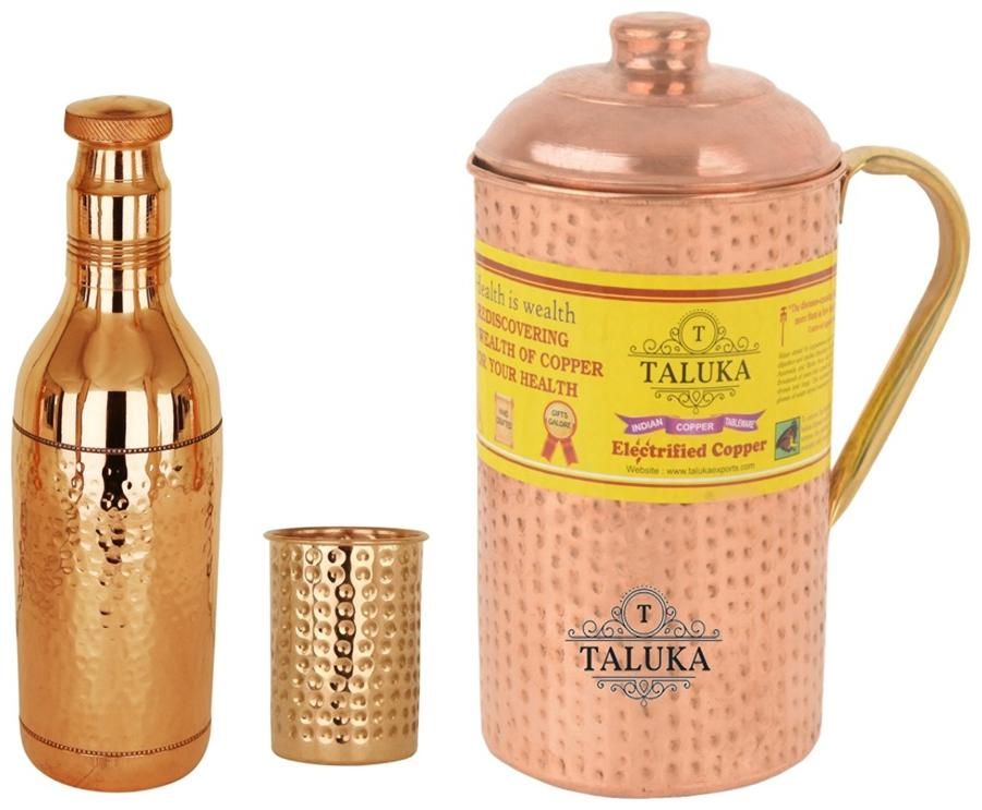 Taluka Set Of 3 Copper Hammered Water Bottle 1700 ml;Jug with Brass Handle 2000 ml with 1 Glass 300 ml each  Serving Storage water Good Health Benefit