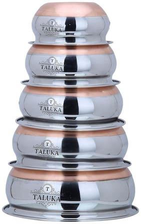 Taluka Stainless Steel Copper Bottom Handi Pot 5 Piece Set Combo Serving Handi Cookware Multi Purpose Capacity :- 0.5L, 0.8L, 1L, 1.3L, 2L Best Quality Copper Handi
