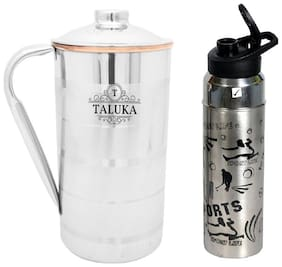 Taluka Stainless Steel Copper Jug 2000 ml For Drinking Water With 1 Steel Bottle Water Storage Pack Of 2