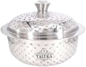"""Taluka Stainless Steel Insulated Chapati Casserole Box Double Wall Hammered Serving Casserole Tableware (8.2"""" Inch) 2500 ML"""
