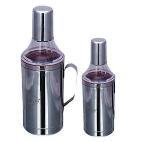 Taluka Stainless Steel Oil can Oil Pourers with Handle Ease Oil Dispenser (500 ml + 1000 ml) Pack Of 2