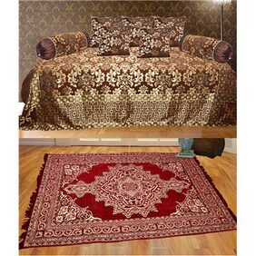 Tanya's Homes Exclusive Chenille and velvet Combo of carpet with diwan set - 8 pc Diwan set with large size carpet