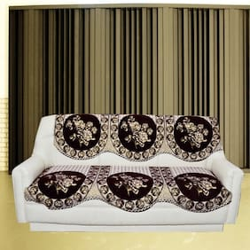 Tanya's Homes Gold and Brown Natural design chenille and velvet sofa covers set for 3 seater sofa - pack of 6 piece with Length :- 66;Width :- 27