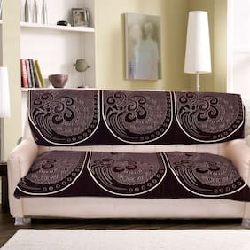 Tanya's Homes Brown & Bronze Natural pattern heavy chenille & Velvet sofa covers designed for 3 seater sofa - Pack of 2 long back and seat covers with dimensions 168 CM (L) x 68 CM(H)