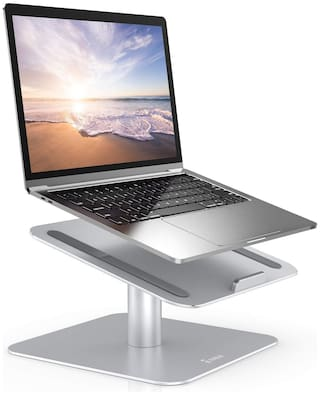 Tarkan Laptop Stand for Desk, 360 Rotating Aluminium Notebook Riser for 11 to 15.6 Inch Laptops, MacBook Air Pro, HP, Lenovo, Dell (Silver)