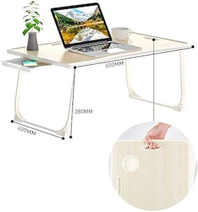 Tarkan Portable Folding Laptop Desk for Bed, Lapdesk with Handle, Drawer, Cup & Mobile/Tablet Holder for Study, Eating, Work (Brown)