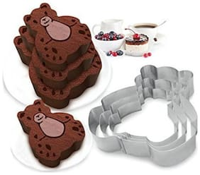 TASHKURST Bear Shaped Cake Mold Stainless Steel Cookie cutters Chocolate Baking Mold set of 3 - Cup Mould (Pack of 3)