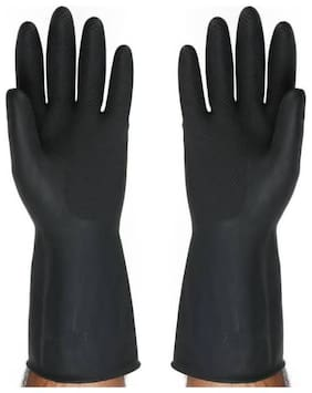 TASHKURST Extra Comfort Industrial Rubber Gloves Dry Glove  (Extra Large) Black - 1Pair Rubber Safety Gloves