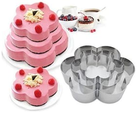 TASHKURST Flower Shaped Cake Mold Stainless Steel Cookie cutters Chocolate Baking Mold set of 3 - Cup Mould (Pack of 3)