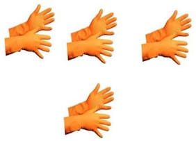 TASHKURST Hand Care Flocklined Household Gloves Waterproof Cleaning Gloves for Kitchen, Dish Washing, Laundry Orange 4 pairs Wet and Dry Disposable Glove Set  (Large Pack of 4)