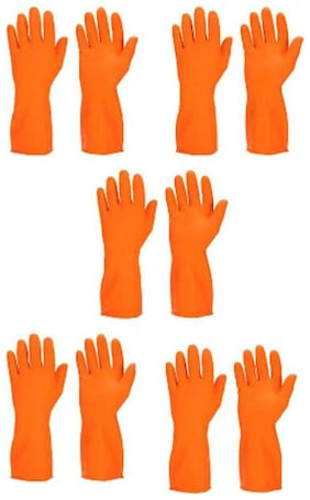 TASHKURST Hand Care Flocklined Household Rubber Gloves Orange - 5pair Wet and Dry Glove Set  (Large Pack of 5)