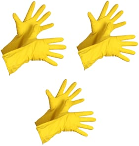 Tashkurst Premium Hand protection Rubber Dish Washing Magic Scrubber Gloves Reusable Household Cleaning Gloves Hand Care Free size Yellow 3 pairs